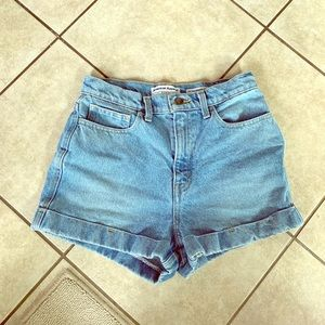 American apparel the high waisted denim shorts